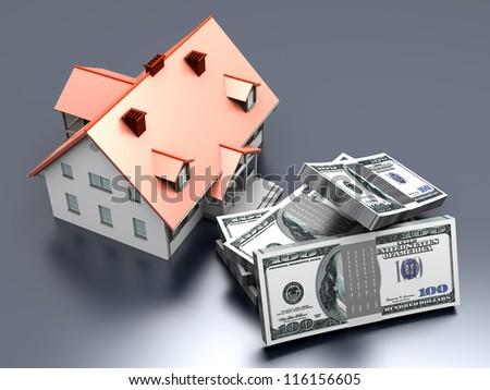 Money and Real estate. 3D rendered illustration.