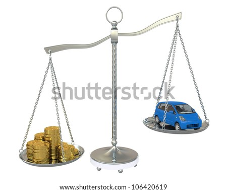Money and the car in the gold balance scales. Isolated on white background