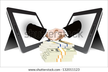 money and Two computer tablet and Hands in handshaking, Internetworking Concept, Wireless Communication