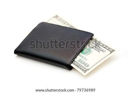 Money and wallet over a white background