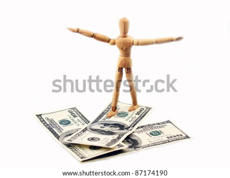 Money arrow and wooden man that go on them.