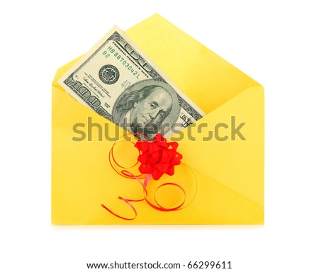 Money as a gift with red bow and yellow envelope