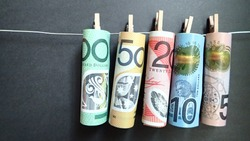 Money; Australian Dollar banknote on black background. Business,finance, Investment and economy concept.