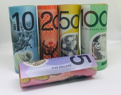 Money, Australian dollars (AUD) on whitebackground - financial and investment concepts
