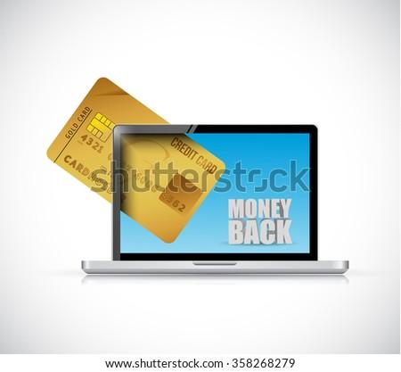 money back computer and credit cart illustration design graphics