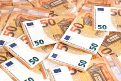 Money background euro cash banknotes 50 euro notes frame composition. Business finance cash concept. Flat lay, copy space, from above, top view, horizontal.