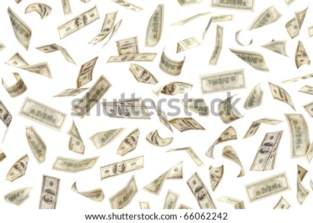 Money background of $100 banknotes on white