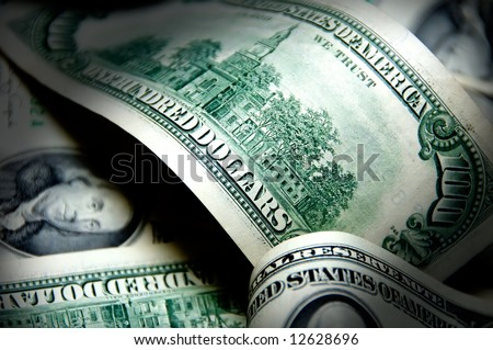 Money background of one hundred dollars $100 bills in US currency