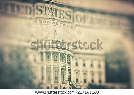 Money background - US dollars background, reto style toned photo with shallow DOF