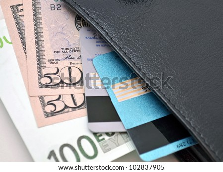 Money background Wallet with money and bank cards