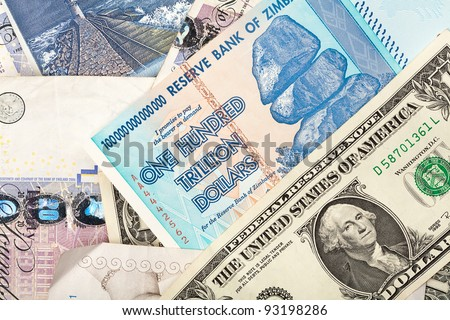 Money background with US dollars, British pounds, Lithuanian litas and ...