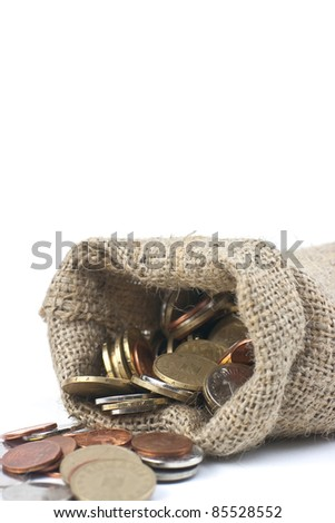 money bag against white background