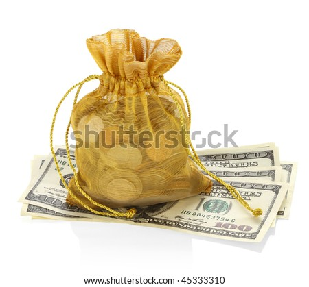 Money bag and Hundred Dollars