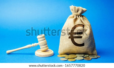 Money bag and judge's hammer. Penalty for a crime and offense. Financial punishment. Violations of traffic laws. Fraud. Fine, penalization, mulct. Gavel. Euro