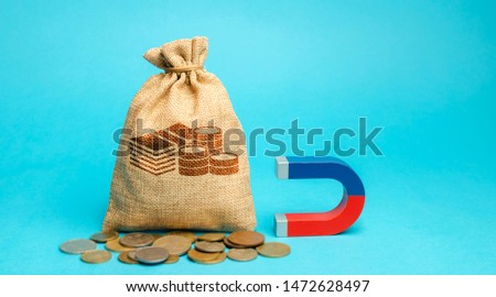 Money bag and magnet. Attracting investments for business purposes and startups. Increase profits and attract new customers. Salary, bonus, cashback. Strategy. Planning and management #1472628497