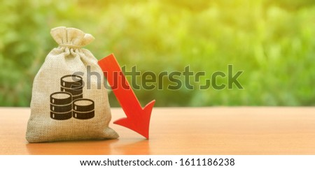 Money bag and red arrow down. Deposit interest rate reduction, cheap loans. Depreciation of national currency, inflation, investment attractiveness. Economic decline fall difficulties.