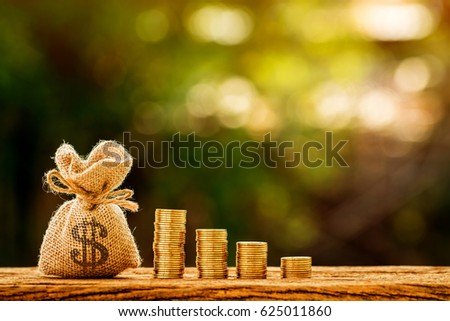 Money bag and stacking gold coins in the public park, saving money for loan with working capital management concept.