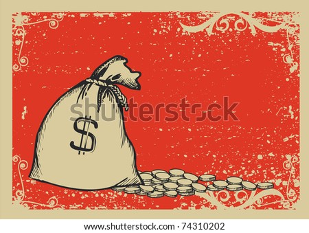 Money bag.Graphic image with grunge background.Raster