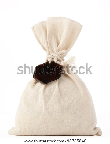Money Bag , isolated on white with a brown seal with room for inscriptions on a rope