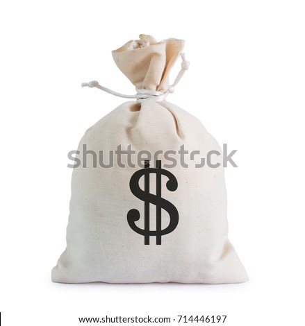 Money bag on white background with clipping path.