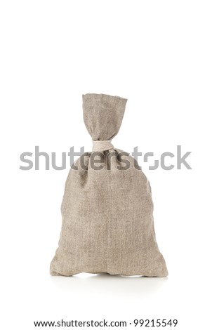 Money bag on white with blank copy-space to put the preferred currency sign - stock photo
