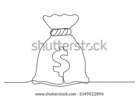 Money bag. One line drawing.