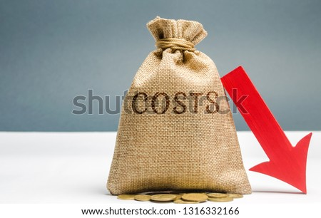 Money bag with coins with the word Costs and a down arrow. Reduction. Expenses cut. The concept of business and finance. Money Management. Budget planning. Revenue analysis. Distribution of funds #1316332166