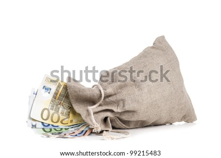 Money bag with different euro banknotes in it