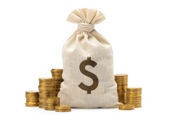 Money bag with dollar sign and stack of coins. isolated on white background.