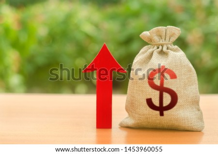 Money bag with dollar symbol and red up arrow. Increase profits and wealth. growth of wages. Investment attraction. loans and subsidies. favorable conditions. Favorable conditions for business.