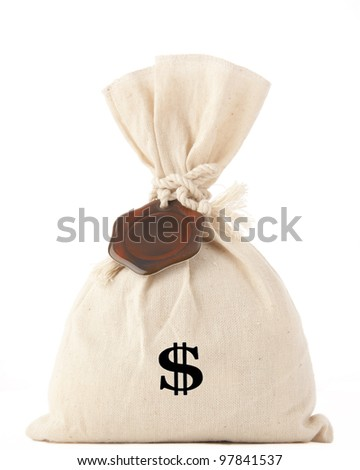 Money Bag with Dollar symbol, isolated on white  with a brown seal with room for inscriptions on a rope