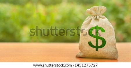 Money bag with dollar symbol on a nature background. Attracting investment to development and modernization. Business, budget, financial transactions. Available loans and subsidies, Copy space. Banner