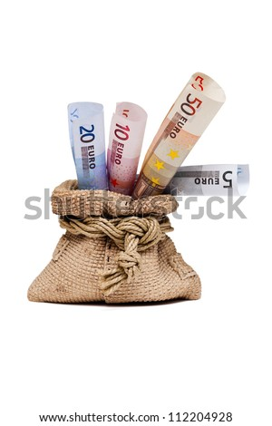 Money bag with euro, a gift isolated on white background