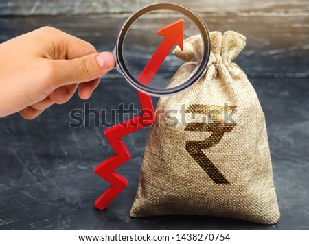 Money bag with indian rupee (rupiah) and arrow up. The concept of profit growth and income. Successful profitable business. Increase investment and budget. Expenses analysis. Performance #1438270754