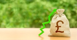 Money bag with pound sterling GBP symbol and green up arrow. Increase profits and wealth. Growth wages. Investment attraction. Loans, subsidies. favorable conditions. Favorable conditions for business