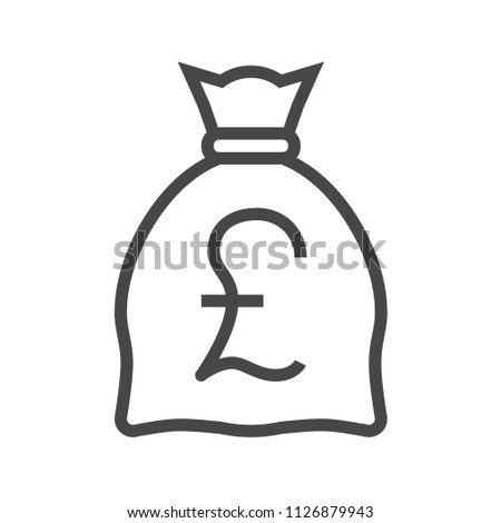 Money Bag with Pound Thin Line Icon. Flat icon isolated on the white background.