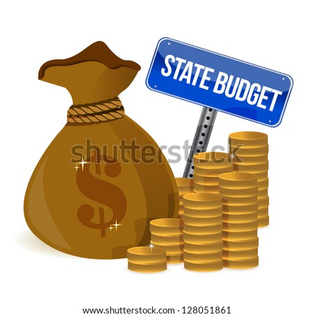 money Bag with state budget sign illustration design over white