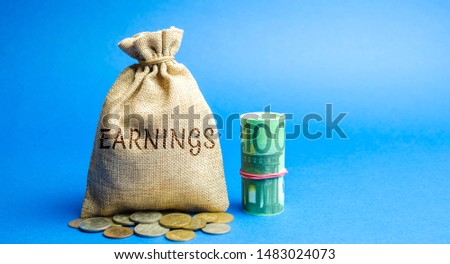 Money bag with the inscription Earnings and Euro bills. Net benefits of a corporation's operating. Profit, income, budget, capital. Ebitda. ROI. ROR #1483024073