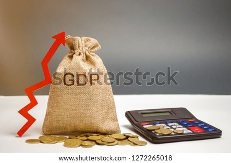 Money bag with the word GDP and up arrow. Technological progress, increasing the level of workers, improving the allocation of resources, improving the management of production activities
