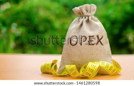 Money bag with the word Opex and tape measure. Day-to-day business expenses. Production of goods and services. Financial management concept. Operating expense, expenditure. Current period costs. #1461280598
