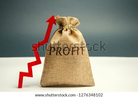 Money bag with the word Profit and an up arrow. Concept of business success, financial growth and wealth. Increase profits and investment fund. Saving money and accumulation. #1276348102