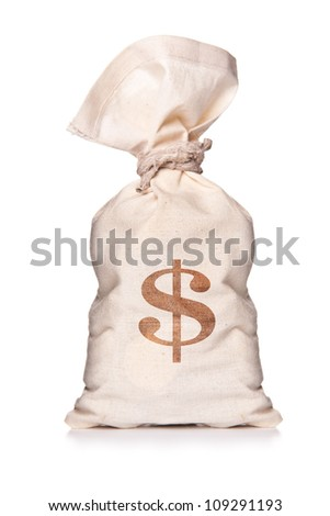 Money bag with US dollar sign against white background