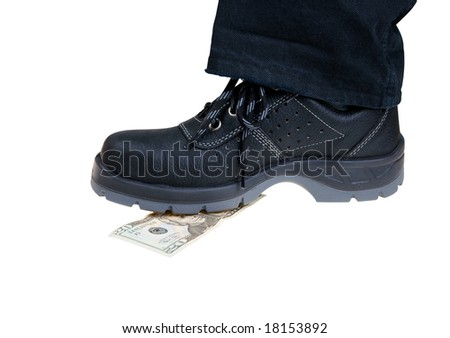 Money banknote crush under foot in black shoes isolated on white
