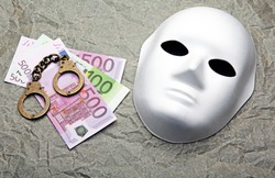 money banknote handcuffs mask parchment paper background