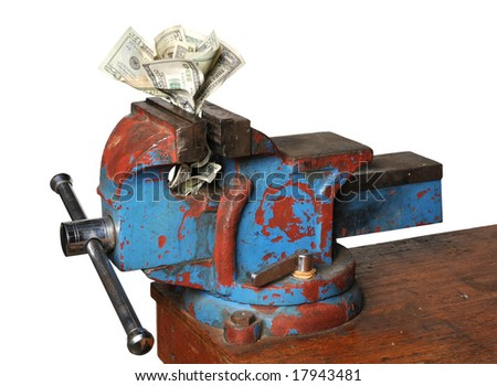 Money being crunched by press isolated over a white background