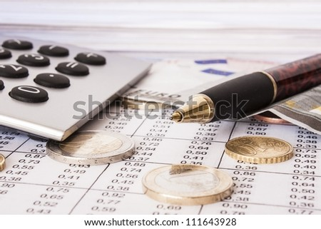 Money, bills and calculator,accounting
