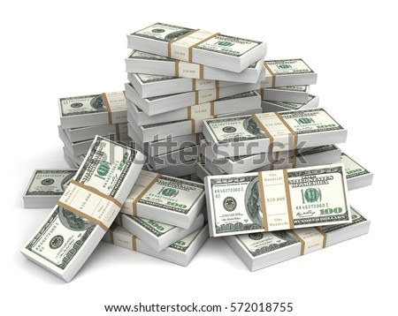 money bills 3d illustration isolated on white background