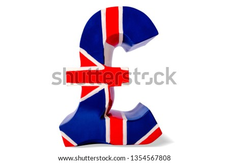 Money box as pound of sterling symbol of British , isolated. #1354567808