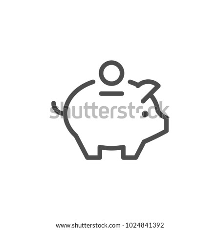 Money box line icon isolated on white