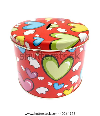 Money box metal piggy bank with hearts